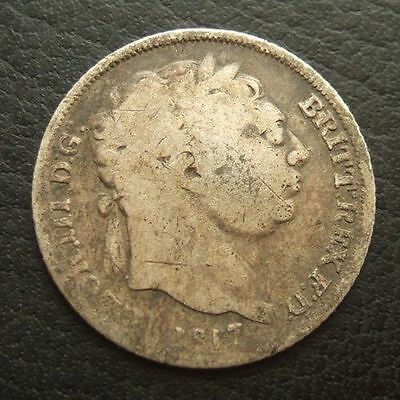 1817 GEORGE III SIXPENCE : BRITISH .9250 STERLING SILVER COIN : SL. BENT ...t121
