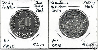 South Vietnam KM10 1968 20 Dong Bright Uncirculated