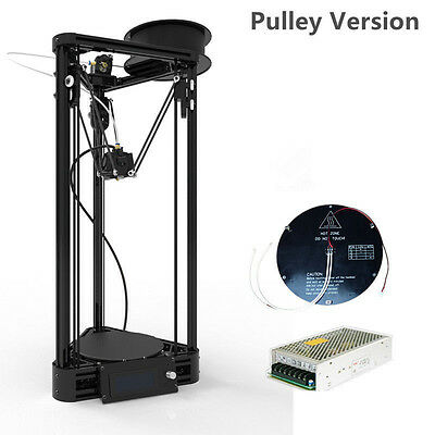 Auto Level Delta 3D Printer Kossel Rostock Pulley with hotbed &big power
