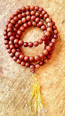 """BUDDHA PRAYER BEAD NECKLACE WITH 108  12mm  WOOD BEADS  48"""" LONG = N0417"""