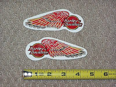 RARE Small Vintage HARLEY DAVIDSON MOTORCYCLES Red Wings Decal Sticker Lot Set