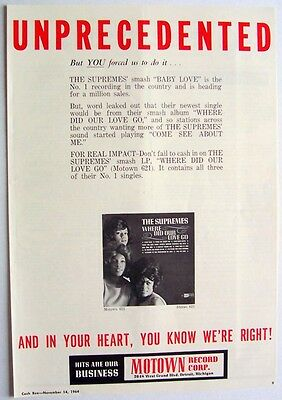 THE SUPREMES 1964 Poster Ad WHERE DID OUR LOVE GO motown
