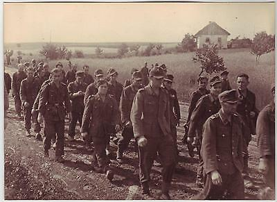 Russian Wwii Press Photo: Convoyed Group Of Captive German Soldiers On The Move