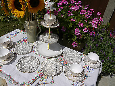 Quirky Vintage gold hatter Hand painted tea set & cake stand & 4 trio's