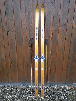 """ANTIQUE HICKORY Wooden 75"""" Skis Has OLD Patina Finish"""