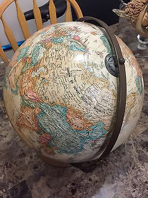 "Vintage Replogle Globe 12"" with Antique Shading and Raised Relief USSR"