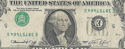 1974 1$ Frn Inverted Error On Face 7464G Very Scarce Hard To Find