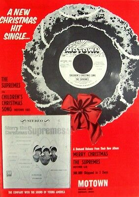 THE SUPREMES 1965 Poster Ad CHILDREN'S CHRISTMAS SONG motown