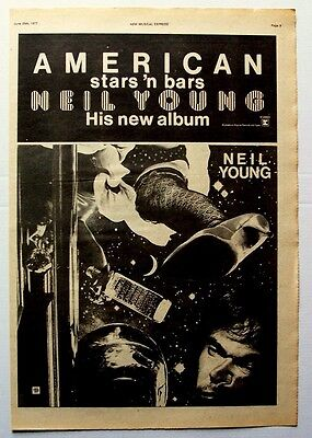 NEIL YOUNG 1977 Poster Ad AMERICAN STARS 'N BARS