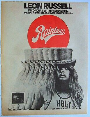 LEON RUSSELL 1971 Poster Ad RAINBOW CONCERT
