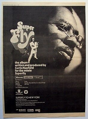 CURTIS MAYFIELD 1973 Poster Ad SUPER FLY