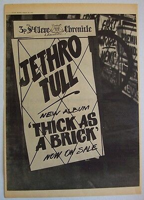 JETHRO TULL 1972 Poster Ad THICK AS A BRICK