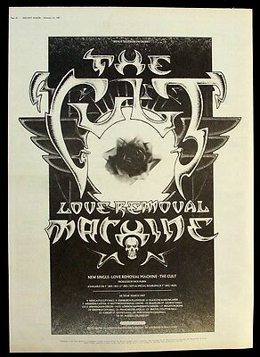THE CULT 1987 Poster Ad LOVE REMOVAL MACHINE