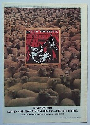 FAITH NO MORE 1995 Poster Ad KING FOR A DAY