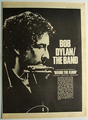 BOB DYLAN 1974 Poster Ad BEFORE THE FLOOD the band