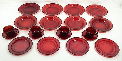 ARCOROC France Ruby Red 20 Piece Dinnerware Set - Plates Soup Bowls Cups Saucers