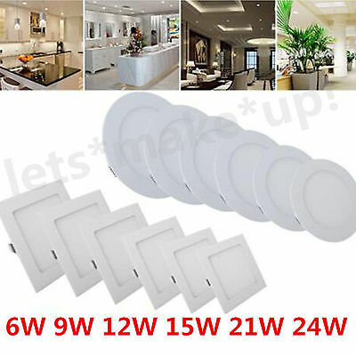 Dimmable Recessed LED Ceiling Panel Light 6W 9W 12W 18W 21W 24W Downlight Lamps