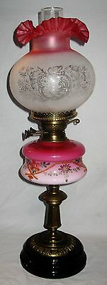 Antique Victorian English Oil Lamp Hp/enameled Font Dupex Burner Art Glass Shade
