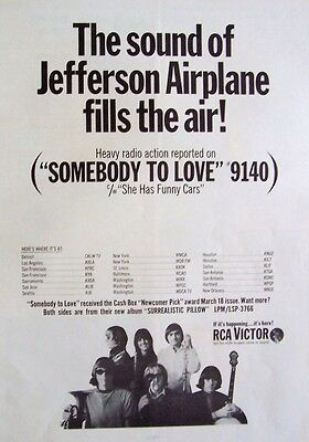 JEFFERSON AIRPLANE 1967 Poster Ad SOMEBODY TO LOVE surrealistic pillow