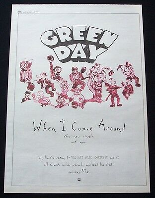 GREEN DAY 1995 Poster Ad WHEN I COME AROUND dookie