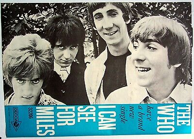 THE WHO 1967 Poster Ad I CAN SEE FOR MILES