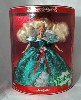 """1991 Special Edition """"Happy Holidays"""" Barbie, Holly Leaves Dress"""