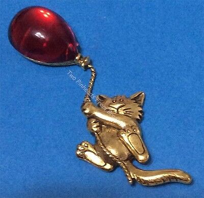 Cat With Red Balloon Gold Tone Brooch Pin Jonette Original Ltd!