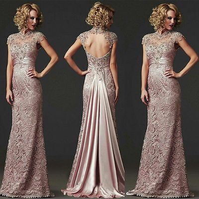 Long Lace Evening Formal Prom Cocktail Dress Party Ball Bridesmaid Wedding Gown