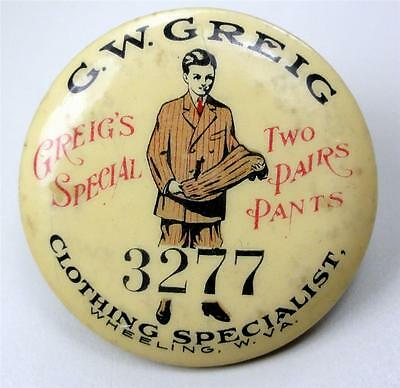 Cello Pinback Button G.W. GREIG CLOTHING SPECIALIST Wheeling WV 38mm pin ME907