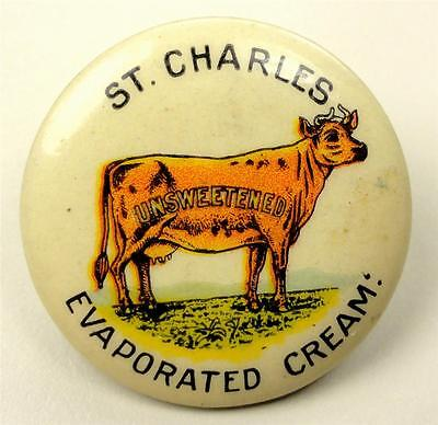 Cello Pinback Button (ST CHARLES IL) COW EVAPORATED CREAM-UNSWEETENED 32mm ME939