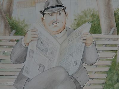 Fernando Botero  Colored Pencil Drawing   Reading Paper In The Park  Signed