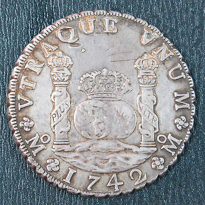 Mexico 1742 Mo MF 8 Reales Silver Crown