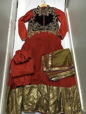 Ladies Designer Anarkali Dress Size 12-14 Used Indian Bollywood Red And Gold
