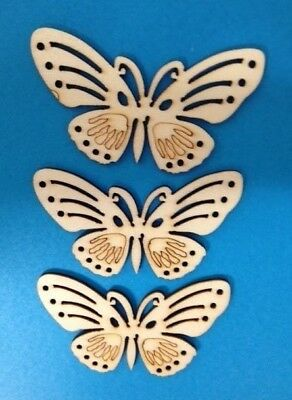 8 Natural Wooden Butterfly Card Making Scrapbooking Craft Embellishments