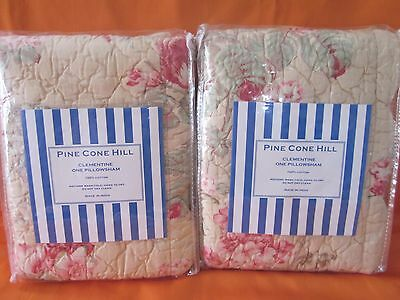 Pine Cone Hill Clementine Butter Pink Roses Quilted Euro Pillow Shams Set 2 Chic