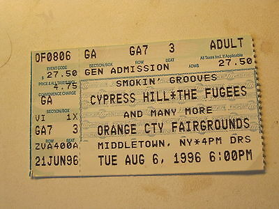 vintage Ticket Concert Cypress Hill Fugee Orange County Fair NY Aug 6 1996