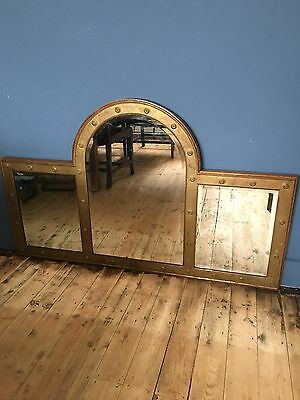 Beautiful Large French Vintage Brass Bistrot Mirror