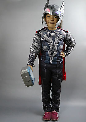 Halloween Boys Childs The Avengers Thor Costume Muscles Cosplay Fancy Dress Kids