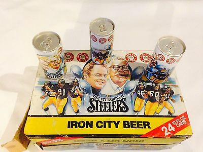Iron City Beer Pittsburgh Steelers Chuck Noll Art Rooney Empty Cans Case 24 Pack