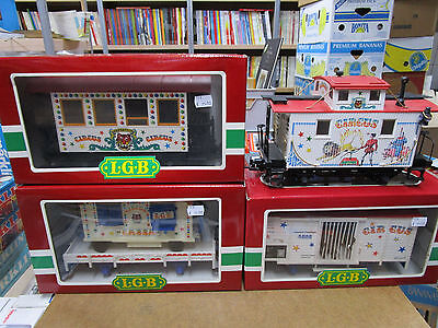 Vintage Lgb Scale G Spur : 4 Wagons Circus 4036 4037 3036 Caboose Cage Cassa.