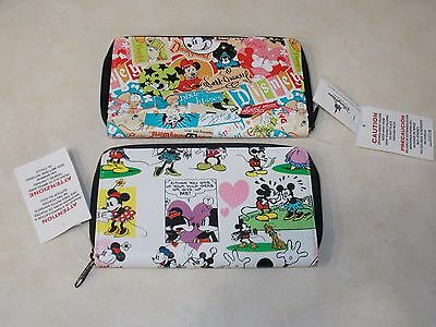 2 Authentic Disney Parks Mickey & Minnie Mouse Comic Strip  Icon Zip Wallet New