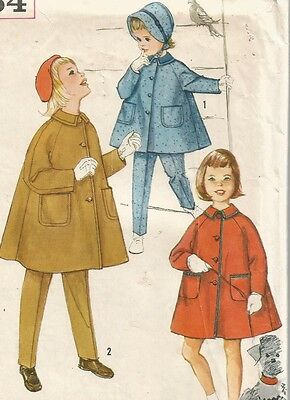 3654 Simplicity Sewing Pattern Girls Coat Tapered Pants Hat Size 4 Vintage