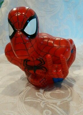 1999 Spider-Man Bust Coin Piggy Bank w/ stopper Marvel American Superhero~ mint