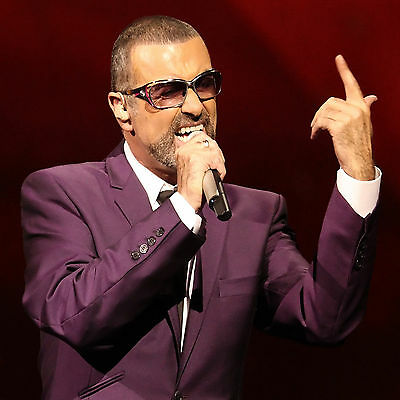 George Michael Purple Suit Mic Singing WALL ART CANVAS FRAMED OR POSTER PRINT
