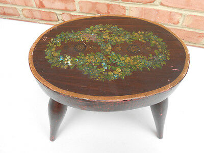 Old Antique Carved Wood Country Victorian Footstool w Painted or Decal Decor