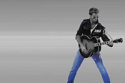 George Michael Blue Jeans Guitar Pose WALL ART CANVAS FRAMED OR POSTER PRINT
