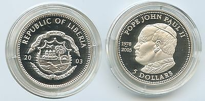 G0278 - Liberia 5 Dollars 2003 Johannes Paul II.1978-2005 Proof Silber