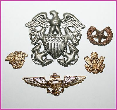 Vintage Lot of US Military Eagle Shield Brass Silver Gold Tone Army Emblem
