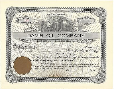 Davis Oil Company........early 1900's Unissued Stock Certificate