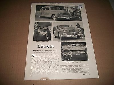 Original 1942 Lincoln New Product Information Print Article Collectible